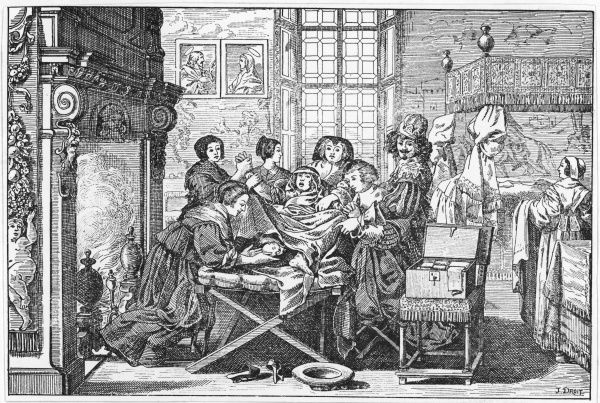 A woman in a wealthy household gives birth, attended by various womenfolk; her husband proudly points to the baby