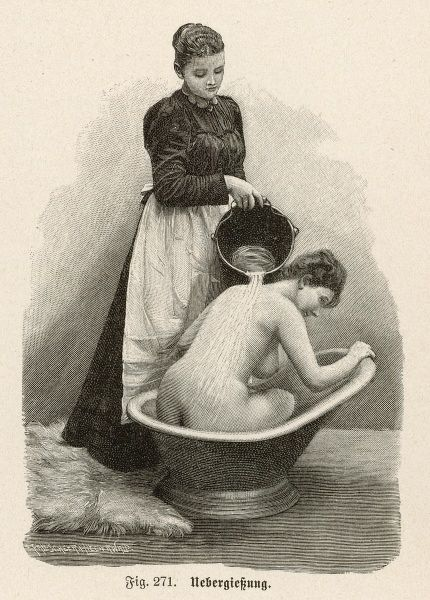 Woman in a hip bath has water poured over her back by a maid