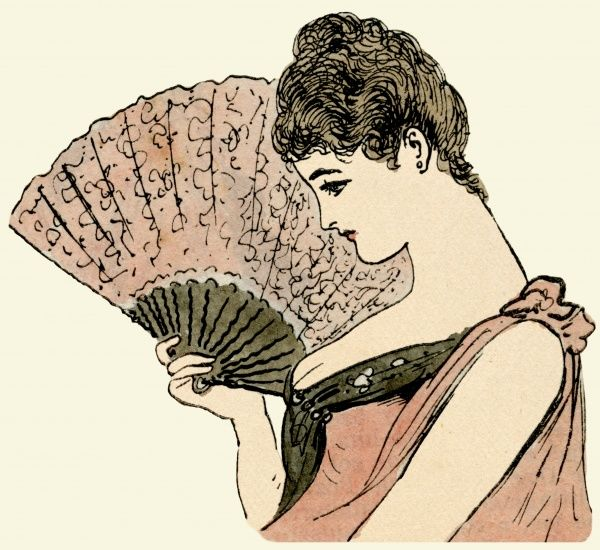 Attractive woman holding a fan  1889