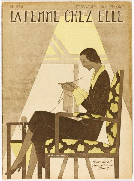 A woman sits knitting - the illustration shows the new elongated slender silhouette which was to come into fruition in the 1930s