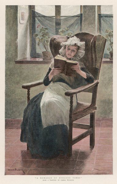 'A romance of byegone times'. A woman wearing a lace hat and white apron sits down to read a novel