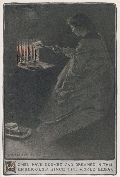 A woman sits and toasts a piece of bread at a fire grate. Date: 1903
