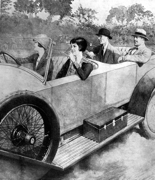 Ilustration of an example of a female motorist in 1925, with the gentlemen taking a back seat