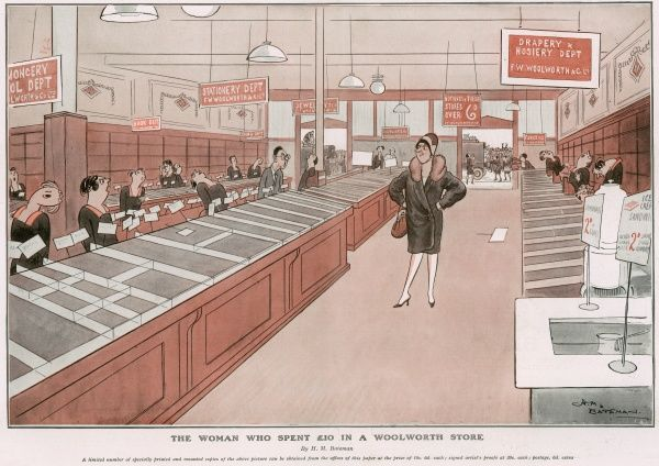 A humorous illustration showing a lady who has bought everything in a department store. Woolworths was particularly renowned for its low-cost goods. Bateman (1887-1970) was a popular artist and regularly contributed to the Sketch, the Tatler and the Bystander