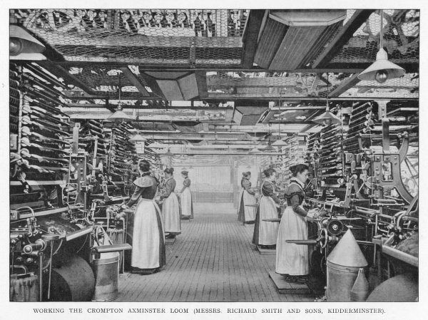 Women working the Crompton Axminster Loom at Richard Smith & Sons, Kidderminster, England
