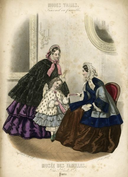 Two women and a child in the latest French fashions. They are all dressed for outdoors, with warm coats and cloaks. The little girl wears an ermine top. Date: circa 1850s