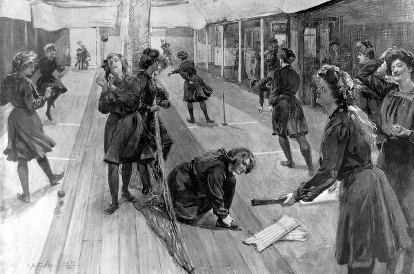 Illustration of the female members of St. Bride's Institute using the indoor cricket nets of their club, during the winter of 1905. This area for cricket was created by planking over the swimming pool of the club; in summer the flooring was removed