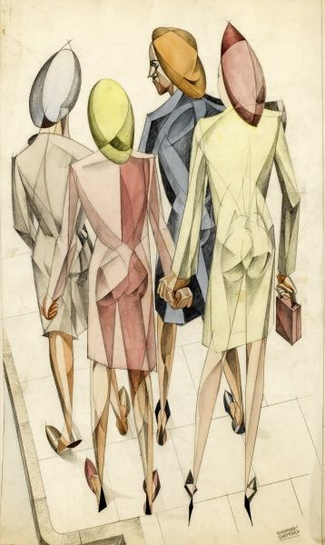 A cubist-style painting of four women by Raymond Sheppard