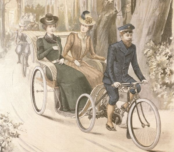 Two women enjoy a ride in an open cycle-drawn carriage. Date: 1899