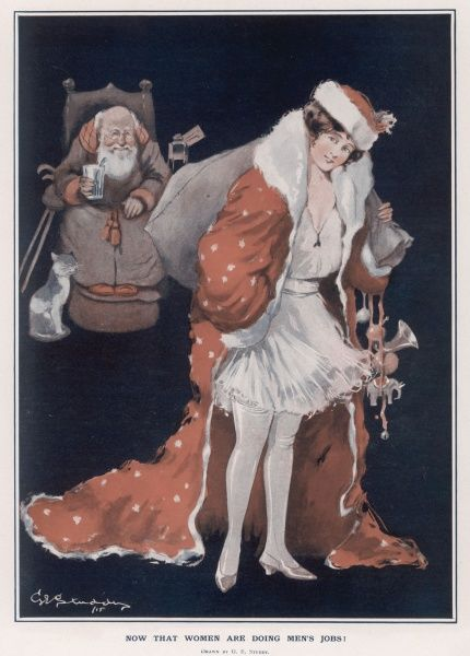 Festive illustration by George Ernest Studdy (1878-1948) showing a woman dressed up as Father Christmas