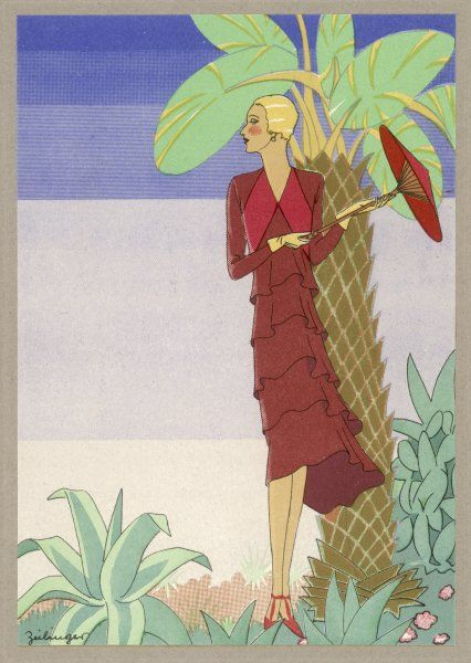 Surrounded by exotic vegetation, she stands primly with her parasol by a palm tree