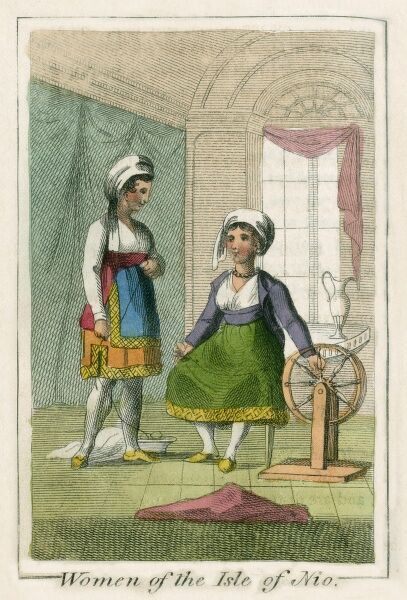 Women of the Isle of Ios, a Greek island in the Cyclades group in the Aegean Sea.. A book of national types and costumes from the early 19th century