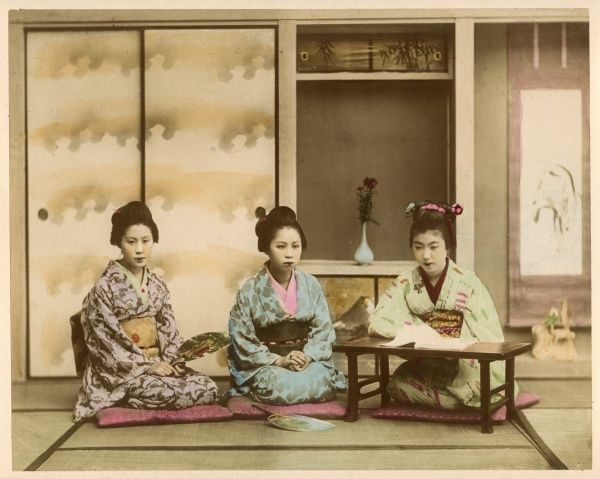 Three women in kimonos