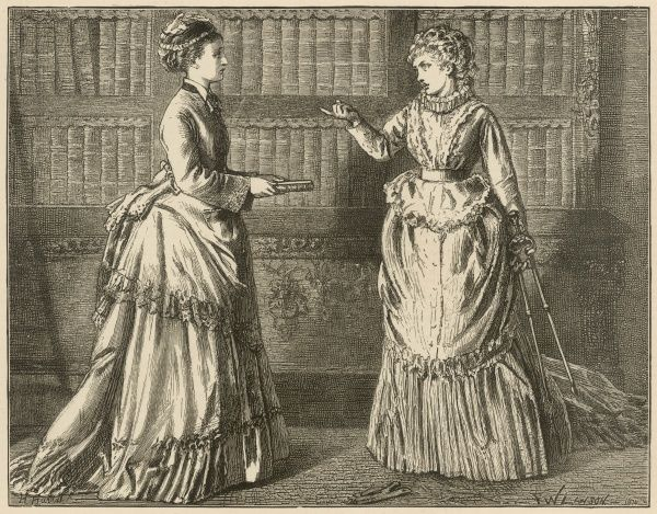 "An illustration accompanying an extract from Wilkie Collins' book, 'The Law and the Lady'. The caption reads: 'She approached me, with the tongs in one hand, and with a plainly-bound volume in the other. ""Is that the book?"" she said"