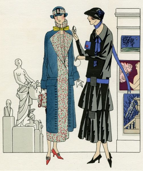 Two fashionable women one wearing a navy dress coat with multicolored lining and matching brimmed cloche hat and handbag, by Bernard. Black crepe satin dress with two tries, royal blue leather belt, neck scarf and clutch bag, by Premet