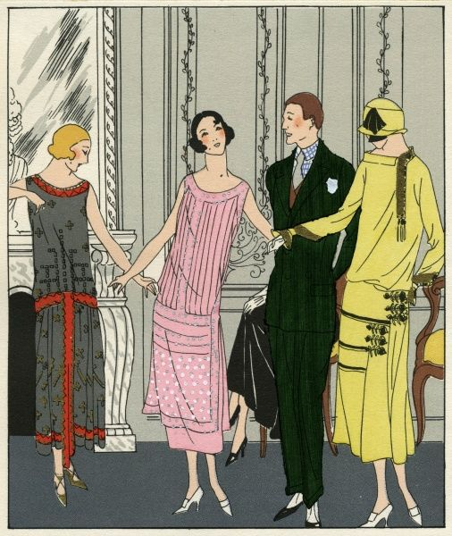 Three women wearing outfits by Doeuillet. On the left, a grey sleeveless tubular dress with scattered gold design, and red trim around neckline, hem and hips. In the middle, a pink sleeveless tubular crepe dress with silver embroidery. On the right