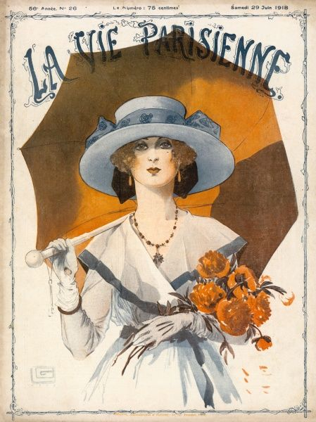 Beautiful young woman with parasol and flowers. Date: 1918