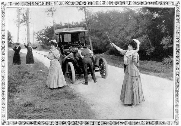 Photograph showing four women playing 'Diabolo' at the side of the road, while waiting for their male companions to fix their broken-down motor-car, 1907