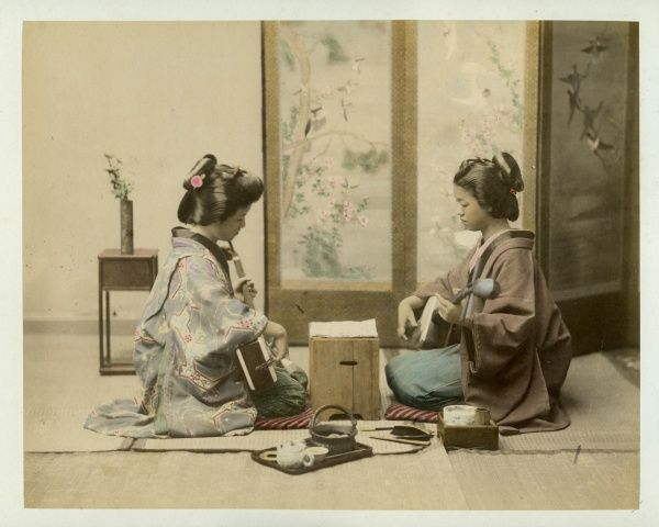 Women playing musical instruments in Japan