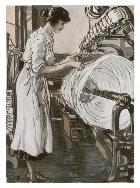 Women reeling thread into skeins at J & P Coats, Paisley