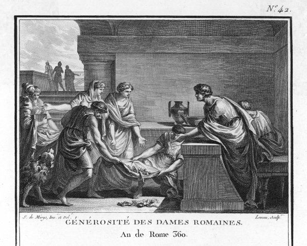 The women of Rome donate their jewellery in gratitude for the capture of the Etruscan city of Veii