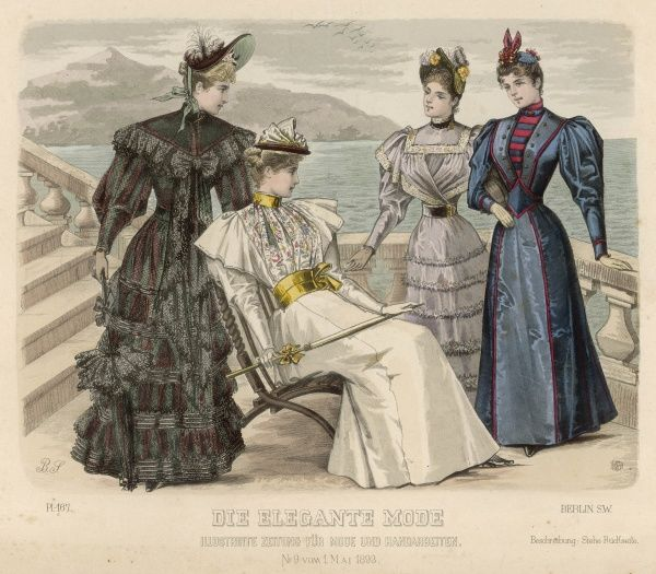 Four women in fashionable frocks with leg of mutton sleeves in a colonnaded area overlooking the sea