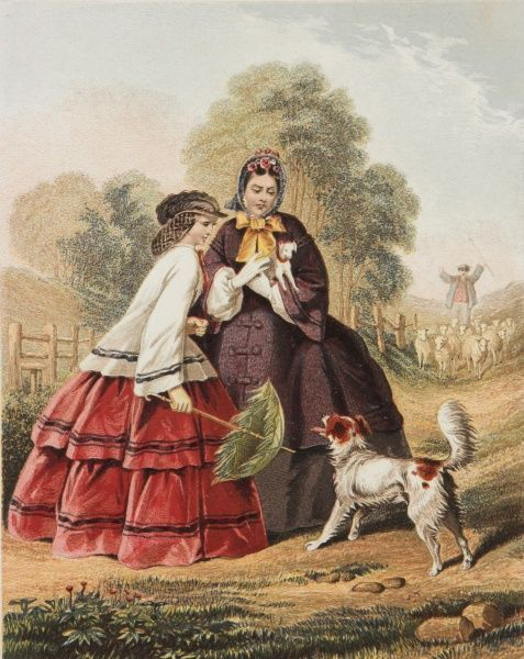 Two ladies out walking in crinolines are barked at by a rather unpleasant sheepdog so one of them decides to attack it with her parasol