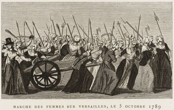 The market-women of Paris march to Versailles to demand bread from the king. (And no, Marie Antoinette will NOT say let them eat cake...' Date: 5 October 1789