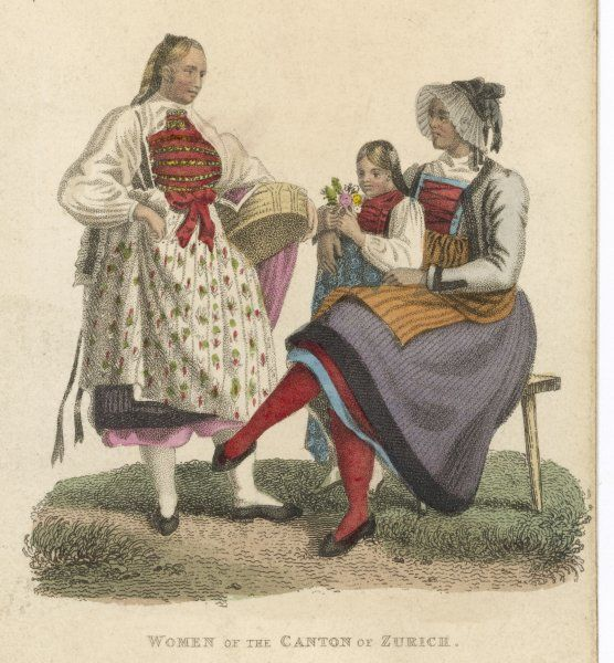 Two women and a child in the traditional dress of the canton of Zurich, Switzerland