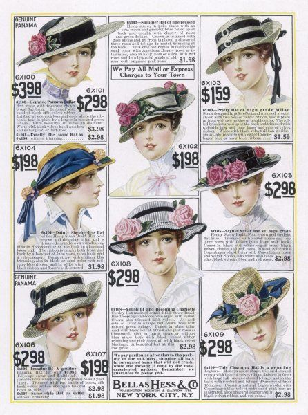 What the well-dressed American female is wearing on her head in 1916 - from a mail order catalog by Bellas Hess