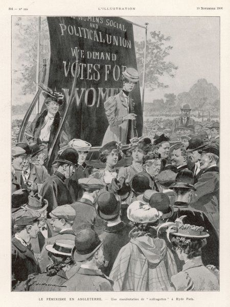 A Women's Social & Political Union demonstration in Hyde Park