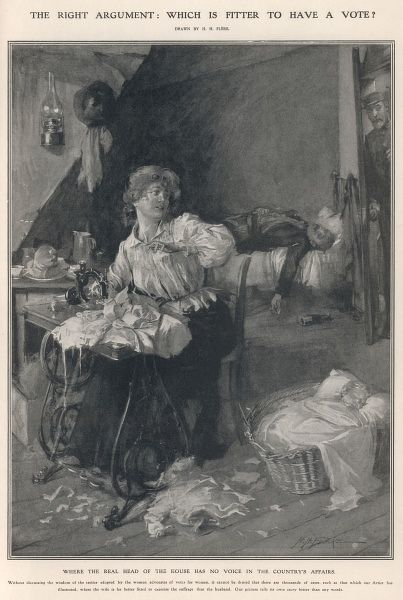 A woman works at home on her sewing machine and minds her baby while her husband lies in a drunken stupor. The caption asks 'Which is fitter to have a vote?&#39