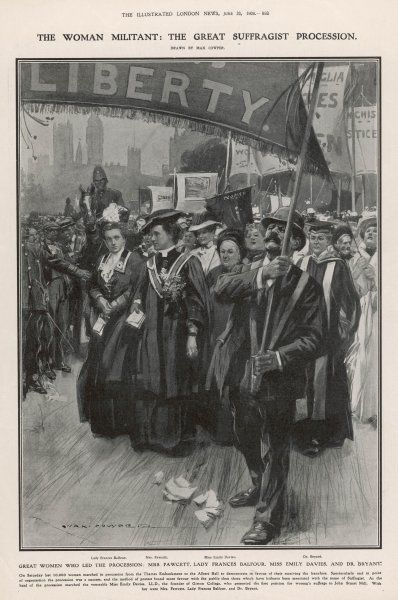 THE GREAT SUFFRAGIST PROCESSION - led by Lady Frances Balfour; Mrs Fawcett; Emily Davies; Dr Bryant; and 9,996 others, from the Embankment to the Albert Hall