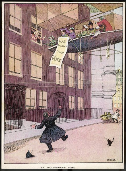 An Englishman's Home; Asquith in Number 10 is petitioned by a group of Suffragettes on an areoplane