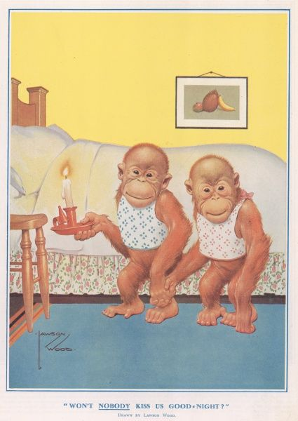A colour illustration by artist Lawson Wood showing two orangutans waiting to get a kiss before they go to bed