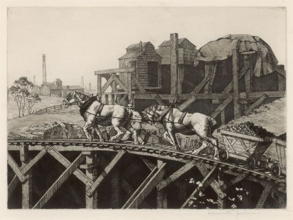 Blinkered pit-horses draw coal wagons along a wooden railway at an unidentified colliery : it looks extremely precarious - let's hope they can see where they are going