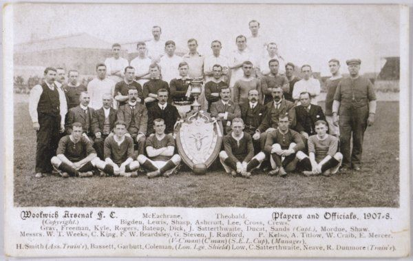 WOOLWICH ARSENAL football team (each player is named below). Date: 1907-8