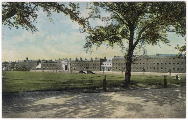 Distant view of the Royal Artillery Barracks at Woolwich, south-east London