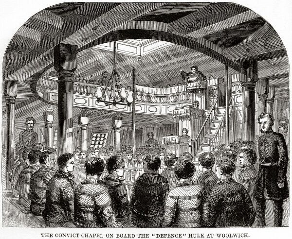 The Woolwich 'hulks' (prison ships) - the convicts' chapel onboard 'Defence'.. Date: 1862