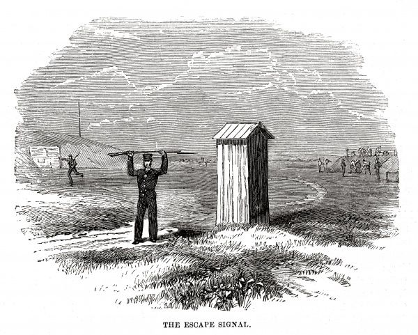 The Woolwich 'hulks' (prison ships) - guards give the escape signal. Date: 1862