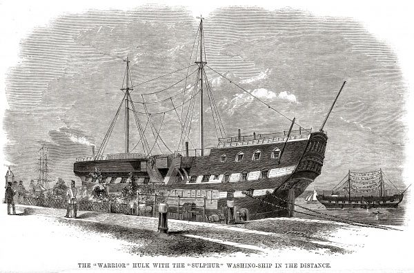 The Woolwich 'hulks' (prison ships) - the 'Warrior' with washing-ship 'Sulphur'. Date: 1862