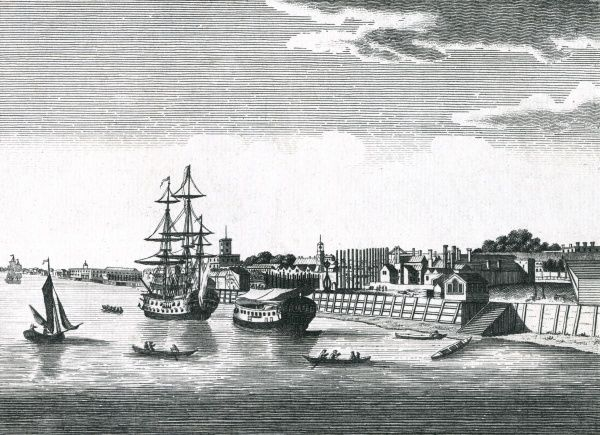 viewed from the river Thames, with a warship and a hulk moored off the river bank, and small boats ferrying passengers across the river Date: circa 1750
