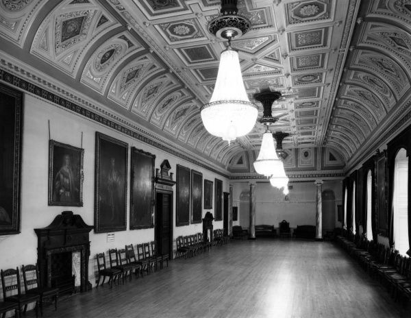 The fine Assembly Room of Worcester Guildhall, which was built between 1721 and 1724 and occupies the site of a much earlier building. Date: Built 1721 - 1724