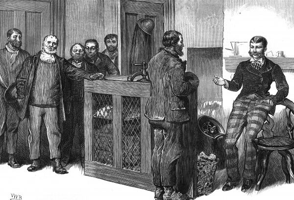 Management and labour negotiate during the South Wales lock-out Date: 1875