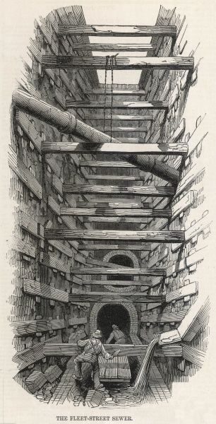 Engraving showing the construction work undertaken to deepen the Fleet Street sewer, in London in 1845