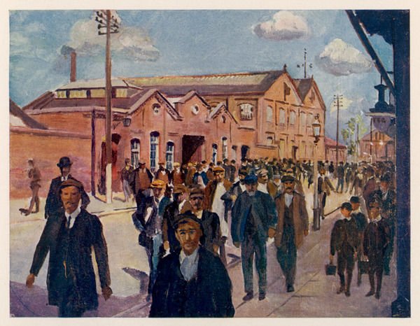 Workers going home for their dinner (at mid-day) from the Great Western Railway's works at Wolverton