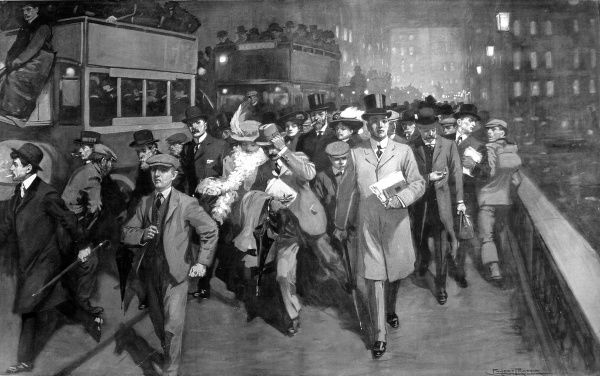 Illustration showing the scene as workers from the City of London poured south over London Bridge, shortly after 6pm on Christmas Eve, 1908