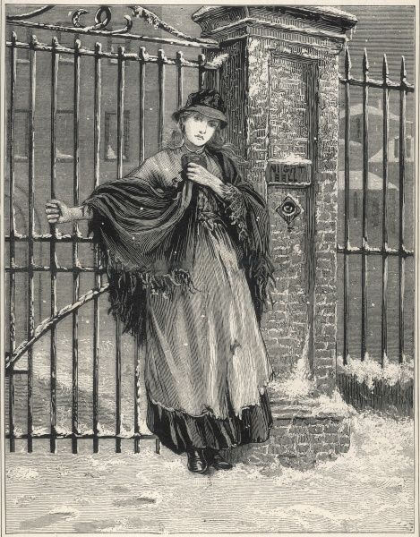 A homeless girl waits at the workhouse gate