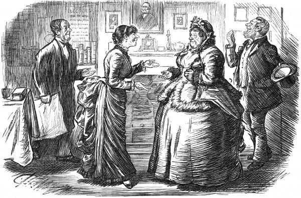 "ELEVATION (Wife of newly-elected Working-man MP): ""Ow D'e Do, Mrs Fuzbush? Though I ham a Lady, won't change my manners Date: 1886"