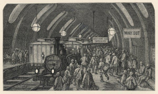 The scene at Baker Street underground station, seven years after the opening of the Metropolitan Line ; the Workmen's special train carried men to work at special low fares